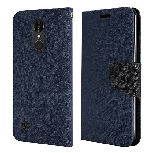 Lg Blue Phone Faceplates (LG Fortune M153 ( Cricket ) case, LG Phoenix 3 M150 ( AT&T ) Case, Luckiefind Premium PU Leather Flip Wallet Credit Card Cover Case, Stylus Pen, Screen Protector Accessories (Wallet Blue))