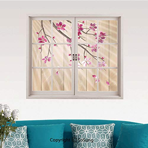 - House Decor Removable Wall Sticker/Wall Mural,Spring Cherry Twig Falling Petals Sun Beams on Wooden Wall Background Illustration Creative Close Window View Wall Decor,24