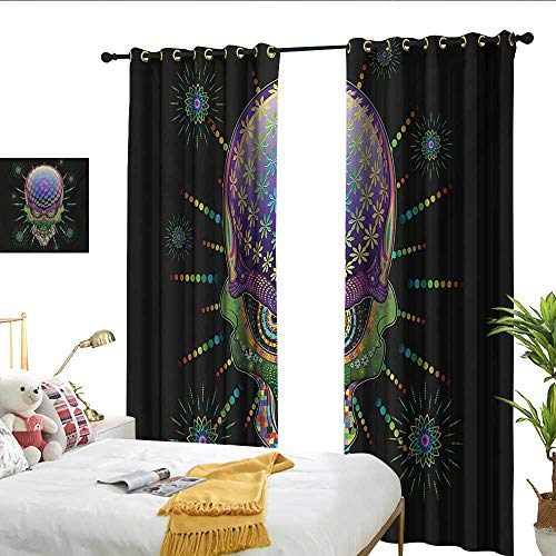 Perfectble Psychedelic Digital Mexican Sugar Skull Festive Ceremony Halloween Ornate Effects Design Multicolor Shading Curtain -