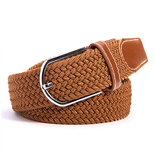 Brn Buckle (RevoLity Mens Elastic Fabric Woven Braided Stretch Webbed Belt with PU Leather Buckle Length 105cm)