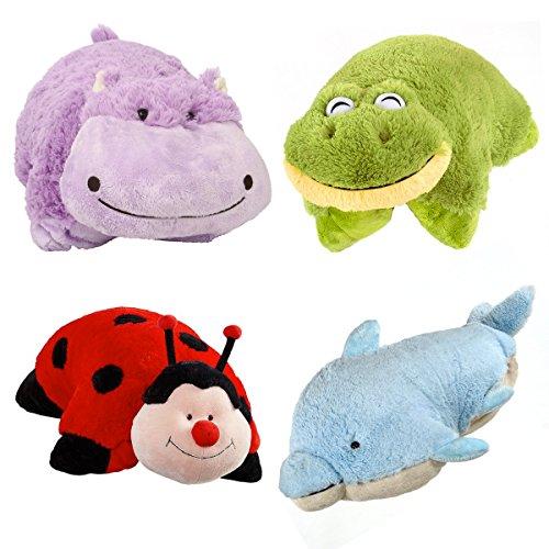 Set of 4 Pillow Pets Pee-Wees Stuffed Animal Plush Kids Bedtime Nap Toys (Hippo Pillow Chair)