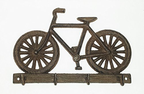 Aunt Chris' Products - Bicycle Wall Decor - 5 Hooks - Rustic Dark Brown Color - Use Indoor Or Outdoor - Hang Keys, Umbrellas, Purses, Jewelry and - Road Hall Shops