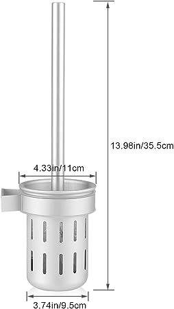Garosa Scopino Bagno WC Portascopino Spazzolino da Bagno Base a Muro Manico in Alluminio Attrezzi Salvaspazio per la Pulizia della Toilette