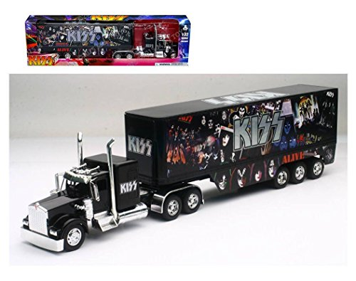 New Ray New 1:32 NEWRAY Truck & Trailer Collection - Black Kenworth W900 - KISS Diecast Model Toys from New Ray