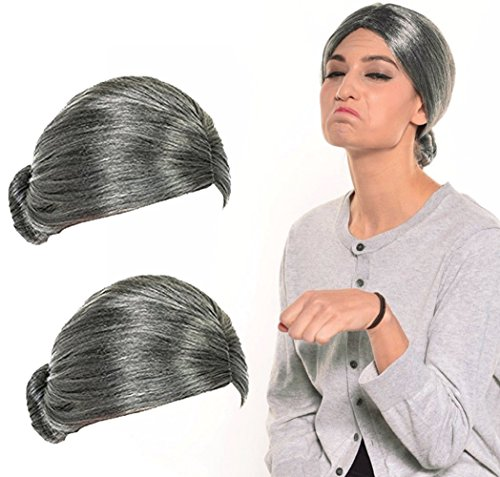 Old Lady Wig, Costume Old Lady Wig Grandmother Wig Gray Wig Mrs. Santa Wig Costume Accessories, 2 PCS ()