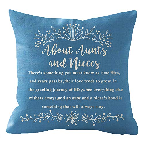 Aunt Throw Pillow - NIDITW Nice Mothers Day Birthday Gift to Aunt from Nieces with Funny Words Lumbar Body Blue Cotton Burlap Linen Cushion Cover Pillow Case Cover Chair Couch Decorative Square 18x18 Inches (Blue)