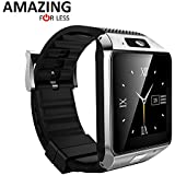 Amazingforless White Bluetooth Touch Screen Smart Wrist Watch Phone Mate with for Smartphone SIM TF Apple iphone 4 4S 5 5C 5S 6 6s 6plus 6splus 7 Android Samsung S2 S3 S4 S5 S6 S7 Note 3 4 5 18 DZ09-Silver