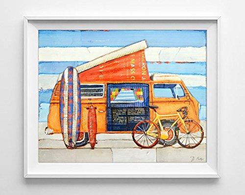 Choose Your Weapon - Danny Phillips Art Print, UNFRAMED, Volkswagen Vw Westfalia, Camping cycling skateboard surfboard wall & home decor, summer vacation gift, biking, 8x10 - Cycling Season Is When