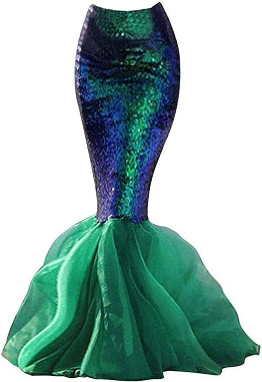 Blue Brand New Mermaid Long Tail Costume Skirt
