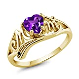 Gem Stone King 0.41 Ct Heart Shape Mothers Day Purple Amethyst and Diamond Gold Plated Silver Mom MOM Ring