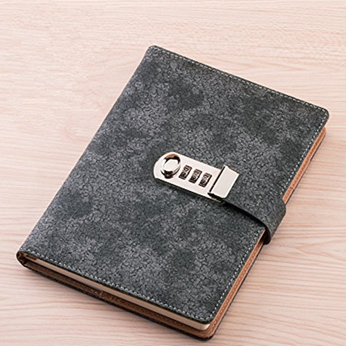 JunShop Password Notebook Student Diary Password With Lock Line Loaded Diary Portable Creative Notepad Size 21x15 CM (Gray) (Notebook Lock Portable)