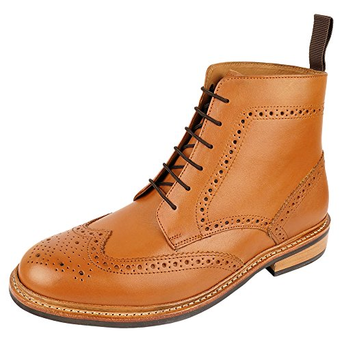 - DLT Men's Genuine Imported Leather with Rubber Sole Goodyear Welted Oxford Dress Shoes 9 Tan