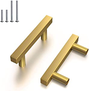 Brass Drawer Pulls 15PACK Brushed Brass Cabinet Pulls 2 1/2 inch Hole to Hole Gold Kitchen Hardware Handle and Knobs 4inch Length Furniture Door Handles