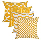 Accent Home Square Printed Cotton Cushion Cover,Throw Pillow Case, Slipover Pillowslip For Home Sofa Couch Chair Back Seat,4pc pack 18x18 in Golden Yellow color