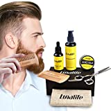 Beard Care Grooming Trimming Kit- Balm Butter Wax, Natural Beard Oil, Moustache Comb, Mustache Shampoo Washing, Goatee Comb, Barber Scissors Facial Hair Care Set Gift for Man