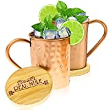 Moscow Mule Copper Mugs Set of 2 by RealMule - 100% Solid Copper Hammered Cups 16 Oz + FREE Wooden Coasters and Gift Box - Perfect For Ice Cold Mules, Beer, Soft Drinks