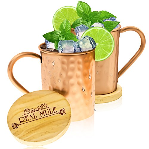 Homemade Hot Rod Costume (Moscow Mule Copper Mugs Set of 2 by RealMule - 100% Solid Copper Hammered Cups 16 Oz + FREE Wooden Coasters and Gift Box - Perfect For Ice Cold Mules, Beer, Soft Drinks)