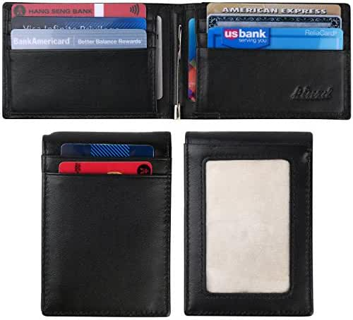 Kinzd Mens Slim Bifold Leather Front Pocket Wallet RFID Money Clip USD Version