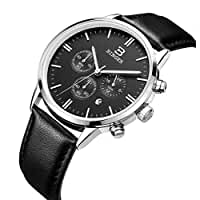 BINGER Men's Date Multifunction Chronograph Watches with Stopwatch Timer Black Leather Strap (black dial silver stainless steel case)