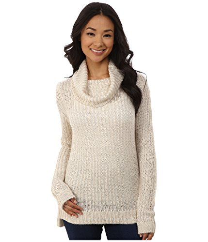 DKNY Jeans Women's Turtleneck Yarn Mix Pullover, Almond XL ()