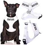 Deaf Dog White Color Coded Waterproof Padded Adjustable Medium Alert Warning Vest Dog Harness Prevents Accidents By Warning Others of Your Dog in Advance