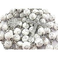 Crosses Acrylic Beads Rosary Catholic Necklace JERUSALEM Cross INRI CRUCIFIX