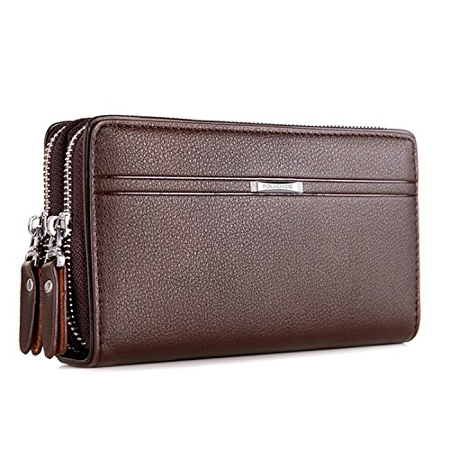 WIN Mens Leather Wallet,Zip Clutch Long Wallet Purse Credit Card Holder (Coffee)