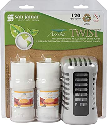 San Jamar WP1202MB Arriba Commercial Twist Passive Mango Burst Air Freshener Retail Case