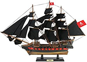 Handcrafted Nautical Decor Wooden Henry Avery S Fancy Black Sails Limited Model Pirate Ship 26 Decorati Toys Games