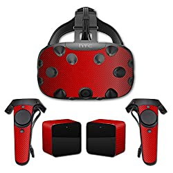 MightySkins Protective Vinyl Skin Decal for HTC Vive wrap cover sticker skins Red Carbon Fiber