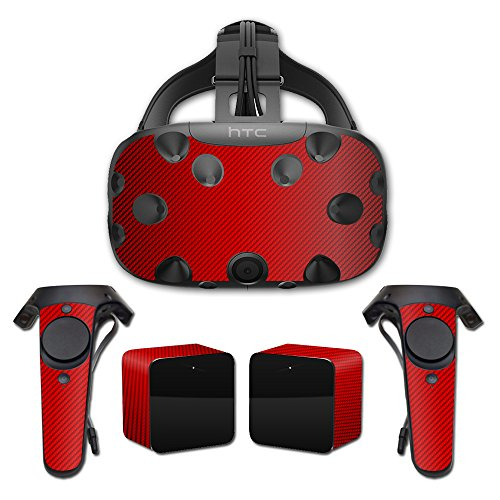 MightySkins Protective Vinyl Skin Decal for HTC Vive wrap cover sticker skins Red Carbon Fiber from MightySkins