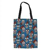 IPrint Sugar Skull Decor,Retro Mexican Cultural Pattern on Polka Dots Rose Bouquets Skeletons Decorative,Multicolor Printed Women Shoulder Linen Tote Shopping Bag