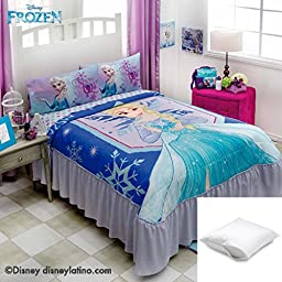 Disney Frozen Elsa 4-Pc Comforter Bedspread Set Twin Bundled with One Pillow Protector