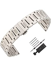 Weelovee Double Buckle Clasp Stainless Steel Bracelet Watch Band for Mens Women Strap Wristband Replacement 14mm to 24mm Straight End Silver Color (14mm)