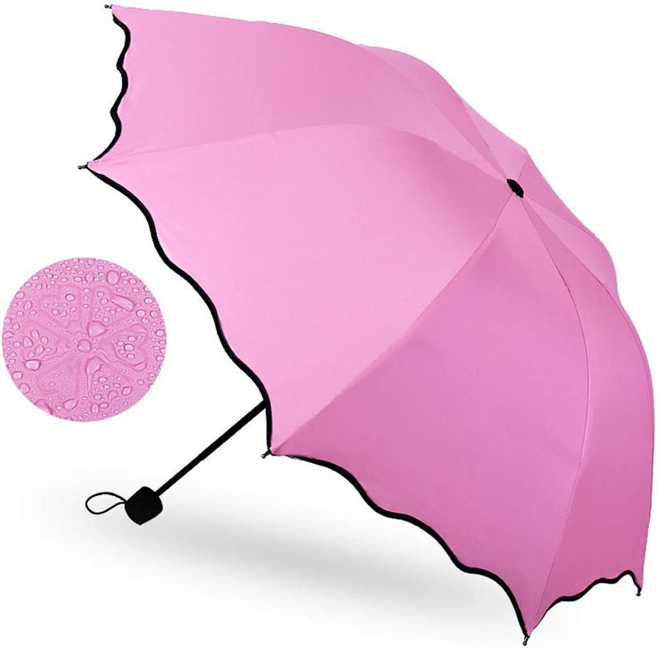 Gn shop Travel Umbrellas- Portable Folding Compact Umbrellas for Rain and Wind with Met Water Begin Bloom and One Handed Operation, for Women and Men