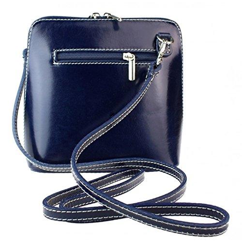 Genuine Bag Cross Vera or Navy Shoulder Body Leather Bag Pelle Mini Italian Zr7Z6xH