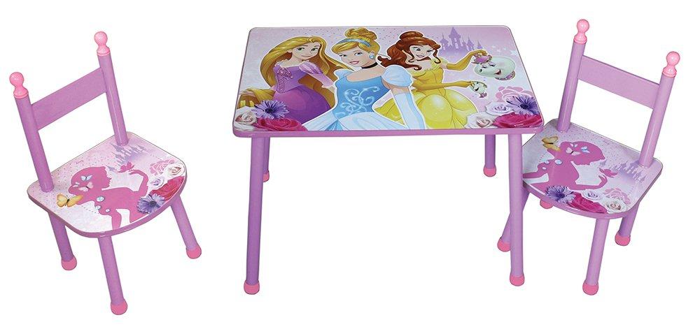 Dimensioni di 60/x 40/x 44/cm Motivo con Principesse Disney 712584 Prodotto Realizzato in MDF di Colore Rosa FUN HOUSE -/Set per Bambini RIF munito di tavolino e Due sedie