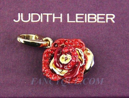 Judith Leiber Rosa Rose Charm Swarovski New 24k Gold Plated Original Box Usa New