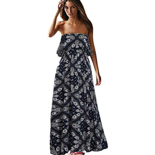 Sumen Women Sleeveless Dress Print Boho Strapless Dress Beach Sundress Long Dress (Navy, (Strapless Feather)
