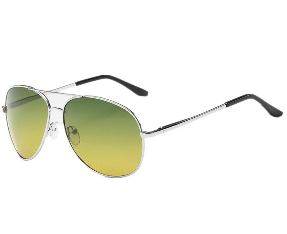 Wonzone Mens Night View Night Vision Polarized Glasses Driver's Yellow UV400 Driving Sunglasses Goggles (Silver103)