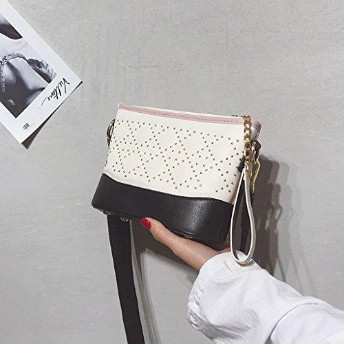 Roscloud@ Bolso bandolera ancho pequeño bolso Bolso personalizado bandolera personalizado color pequeño hombro mujer Bolsa de mensajero ( Color : La Plata ) Beige