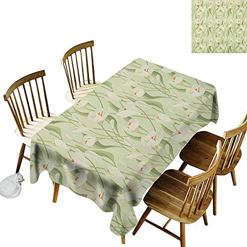 Crocus Art Design - DONEECKL Garden Art Oil-Proof Tablecloth Seamless Design Spring Flowers Bouquet Crocuses with Healthy Fresh Petals Botanical Pale Green Cream Orange W60 xL84