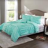 Full/ Queen Basketweave Ruched Bedding Comforter Cover Set, Aqua