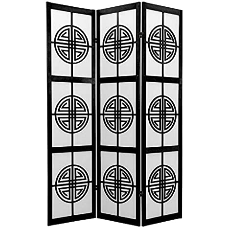 Oriental Furniture 6 ft. Tall Long Life Shoji Screen - 3 Panel - Black