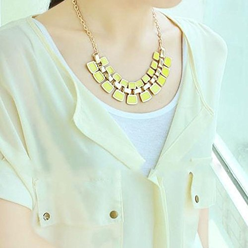 [Women Fashion Crystal Charm Statement Bib Pendant Chain Chunky Choker Necklace, Yellow.] (In Stock Hip Hop Costumes)