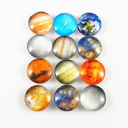 JulieWang 40PCS 15MM Ramdon Mixed Galaxy Earth Sun Planets Solar System Glass Cabochons Charms for Jewelry Making Crafting - Mercury Glass Diy