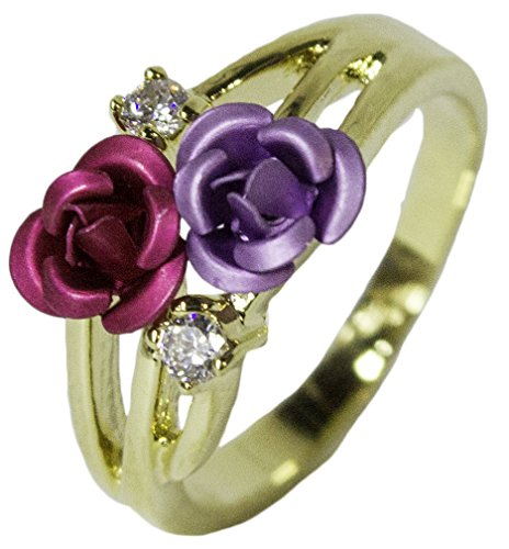 - RS Covenant Women's 18 Kt Gold Plated Dress Ring Enamel Rose and CZ 044 (8)
