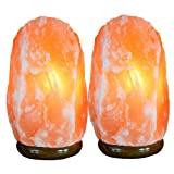Himalayan Pink Salt Lamp 2 Pack With Cleansing and Detox Benefits, Orange Pink Colored All Natural Mineral Crystal Shape, Great Night Light Kitchen Bedside Hallway Bathroom Vanity Decorative Lighting