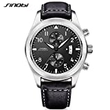 SINOBI Men Military Chronograph Wrist Watches Sub-dials Date Leather Sports Quartz Male Watch Black 2017