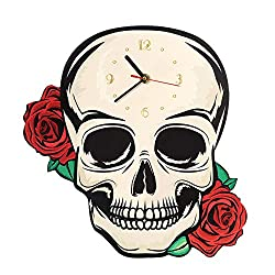 LIZHIHUI Wall Clocks for Living Room Decorative Fantasy Skull with Red Roses Shaped Clock Halloween Art Modern Watch Unique Design can be Used as Very Nice Gift